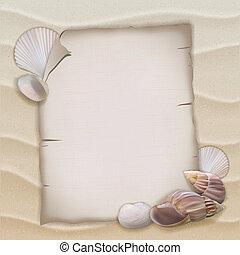conchas, e, em branco, papel, folha