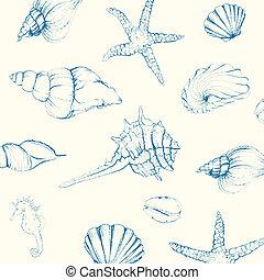 conchas marinas, vector