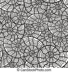conchas, patrón, seamless, vector, mar, monocromo