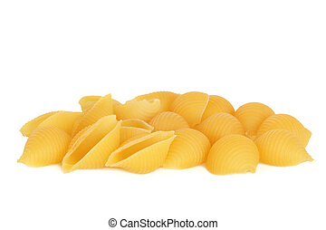 Conchiglie pasta, isolated over white background.