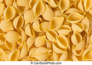 conchiglie rigate pasta pieces as a background