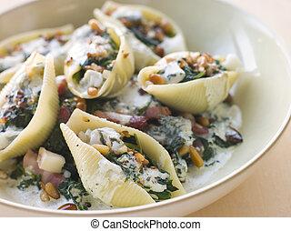 Conchiglioni pasta shells with Spinach Pancetta Pine Nuts and Gorgonzola Cream