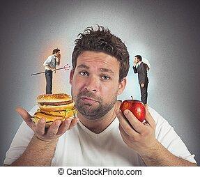 conciencia, culpable, dieta