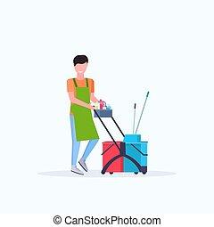 concierge, nettoyage, service, tenue, chariot, femme, charrette, uniforme, entiers, fournitures, plat, nettoyeur, longueur, concept, femme
