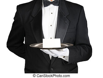 Concierge With Note on Tray