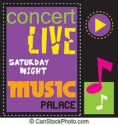 concierto, cabaret, vivo, música, cartel