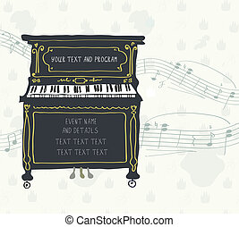 concierto, cartel, -, diseño, retro, melodía, piano