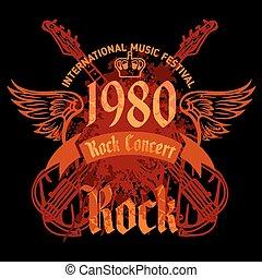 concierto, cartel, roca, -, vector, 1980s., illustration.