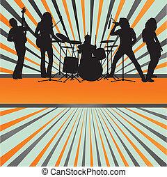 concierto, explosión, banda, vector, plano de fondo, roca