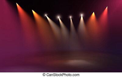 concierto, piso, luces del punto, ilumina, etapa