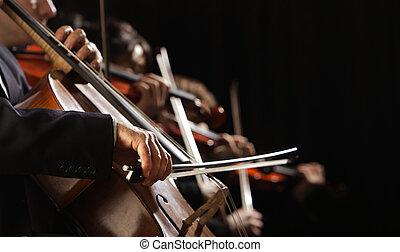concierto, violoncelo, arriba, mano, sinfonía, cierre,...