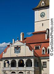 Architerctural detail of concil house in Council Square of Brasov, Transylvania, Romania