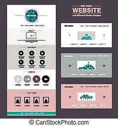 concise one page website design template with polygons ...