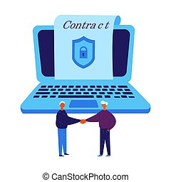 Smart contract concept. Conclude a blockchain contract via laptop. Two man conclude electronic contract with security lock. Two man agreed and shake hands. Vector Illustration flat.