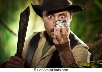 conclusion, énorme, explorateur, gemme, jungle