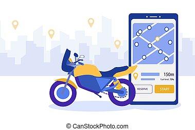 conclusion, city., carsharing, service., emplacement, utilisation, motorbike., vecteur, sur, smartphone, service, partage, application., loyer, information, mobile, transport, motocyclette, illustration, concept