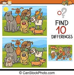 conclusion, jeu, différences, dessin animé