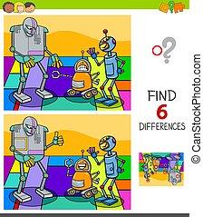 conclusion, jeu, différences, robot, caractères