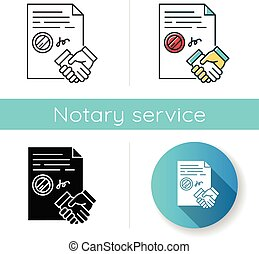 Conclusion of contract icon. Legal document. Apostille and legalization. Legal agreement. Business deal. Partnership. Notary services. Linear black and RGB color styles. Isolated vector illustrations