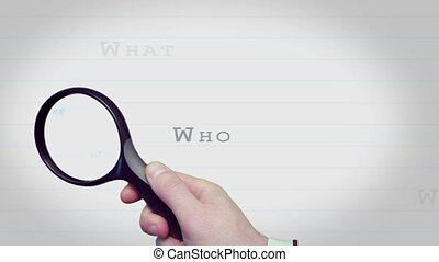 conclusion, verre, question, magnifier, w