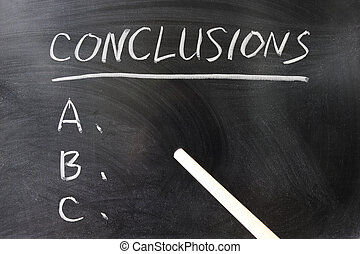 Conclusions - List of conclusions written on the chalkboard