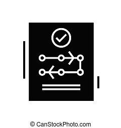 Conclusive decision black icon, concept illustration, glyph symbol, vector flat sign.