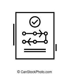 Conclusive decision line icon, concept illustration, outline symbol, vector sign, linear symbol.