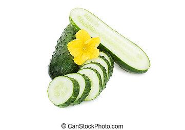 concombre, légume, fleurs, isolé, pousse feuilles, vert