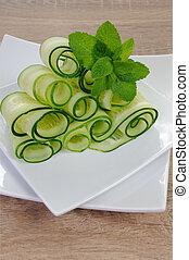 concombre, menthe, ruban, salade
