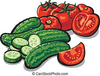 concombres, tomates