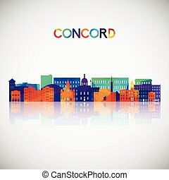 Concord, New Hampshire skyline silhouette in colorful geometric style.