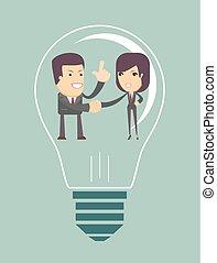 concordado, geral, idéia, pessoas negócio