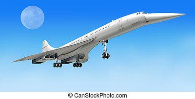 concorde, überschall, verkehrsflugzeug, flugzeug, während,...