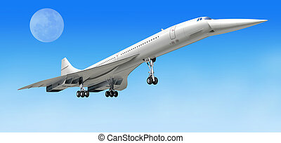 Concorde supersonic airliner aircraft, during take off, or landing. On clear blue sky and big moon as background. clipping path included.