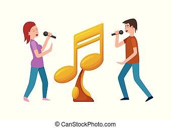 concorrentes, competição, ouro, mic, distinção, música