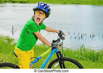 concorrenza, su, bicicletta