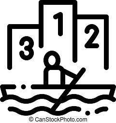 concorrenza, vettore, barca remi, illustrazione, icona, canoismo