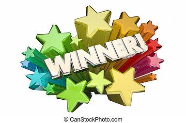 concours, gagnant, gagné, jeu, concurrence, reussite, loto, étoiles, mot, 3d