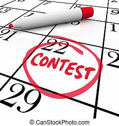 concours, gagner, date limite, entouré, date, entrée, calendrier, rappel
