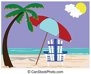 concpt, plage, paumes