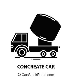 concreate car icon, black vector sign with editable strokes, concept illustration