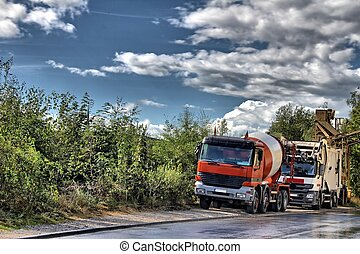 concret mixer trucks as a hdr picture