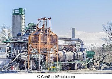 concrete., 植物, 生産, 洗浄, 砂利