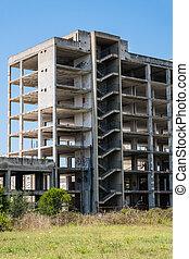 Concrete abandoned building complex.
