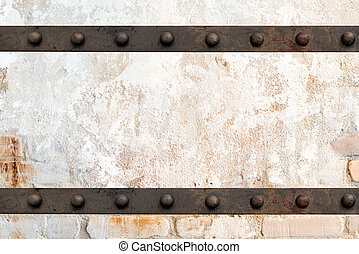 concrete and cement with Metal on Brick wall white texture background