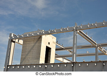 Concrete and steel building frame