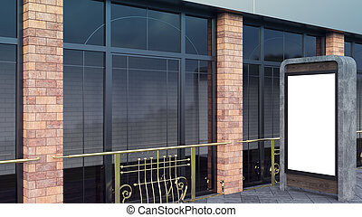 concrete and steel Information Displays. Banner Stands in your design. 3D rendering. Modern Large windows and brick columns.