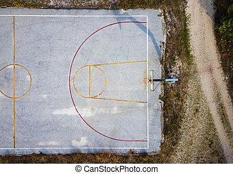 Concrete basketball court aerial view