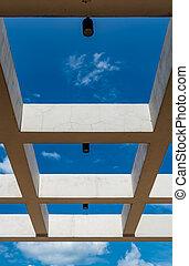 Concrete beam with blue sky
