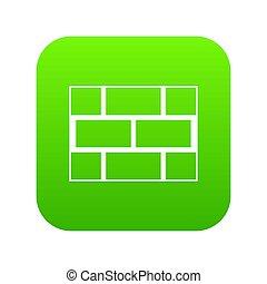 Concrete block wall icon digital green